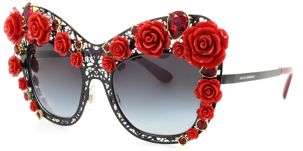 DOLCE & GABBANA DG2160B FLOWERS LACE » BLACK / RED / GREY GRADIENT