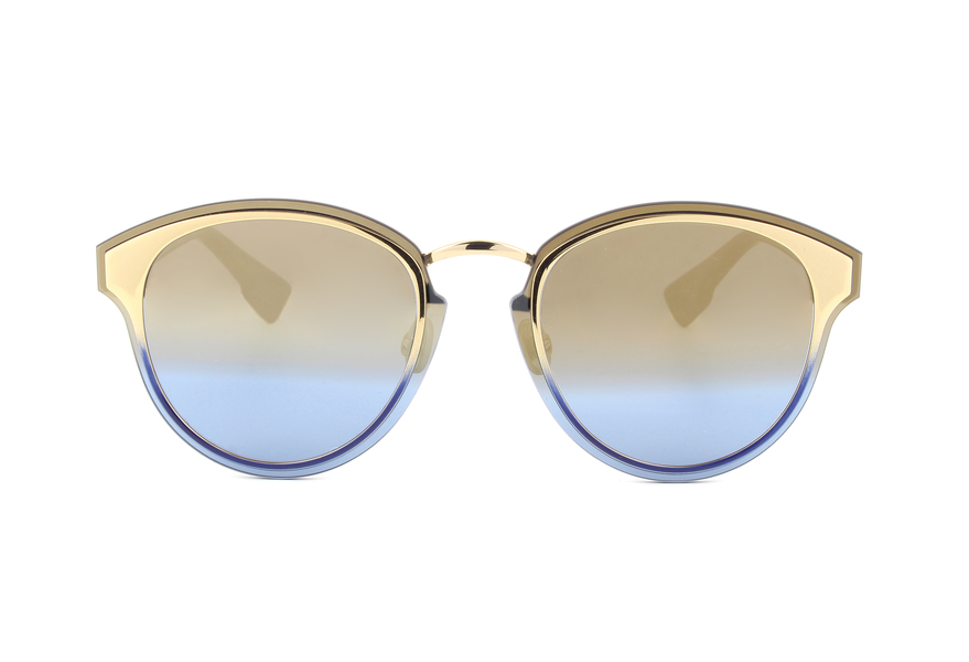 Womens Diornightfall X5 Sunglasses, Gold Blue, 63 Dior