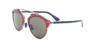 DIORSOREAL-NSZ(L3) BURGUNDY PINK FRAME / BLUE TEMPLE / BROWN GREY LENSES