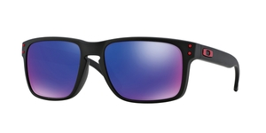 OAKLEY Holbrook OO9102 910236 MATTE BLACK + RED IRIDIUM
