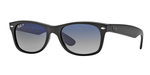 New Wayfarer RB2132 601S78 MATTE BLACK POLAR BLUE GRAD. GRAY