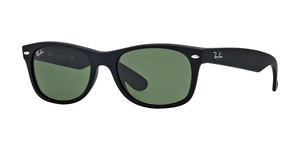 RAY-BAN New Wayfarer RB2132 622 BLACK RUBBER CRYSTAL GREEN