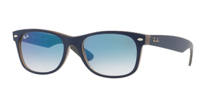 New Wayfarer RB2132 63083F MATTE BLUE ON OPAL BROWN