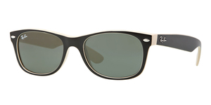 New Wayfarer RB2132 875 TOP BLACK ON BEIGE CRYSTAL GREEN