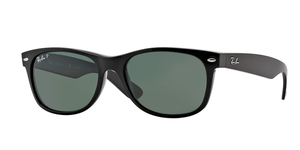 RAY-BAN New Wayfarer RB2132 901/58 BLACK/CRYSTAL GREEN POLARIZED