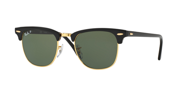 RAY-BAN RB3016 CLUBMASTER » BLACK CRYSTAL GREEN POLARIZED