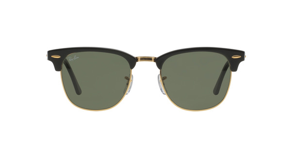 RAY-BAN RB3016 CLUBMASTER » EBONY-ARISTA/CRYSTAL GREEN