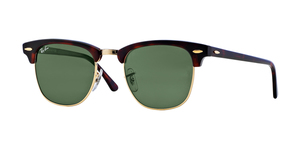 RAY-BAN Clubmaster RB3016 W0366 MOCK TORTOISE-ARISTA/CRYSTAL GREEN