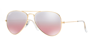 Aviator Large Metal RB3025-001/3E ARISTA/CRYSTAL PINK SILVER MIRROR