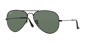 Aviator Large Metal RB3025 002/58 BLACK CRYSTAL GREEN POLARIZED