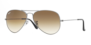Aviator Large Metal RB3025 004/51 GUNMETAL/CRYSTAL BROWN GRAD