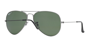 Aviator Large Metal RB3025 004/58 GUNMETAL CRYSTAL GREEN POLARIZED