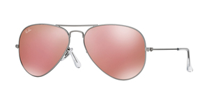 Aviator Large Metal RB3025 019/Z2 MATTE SILVER BROWN MIRROR PINK