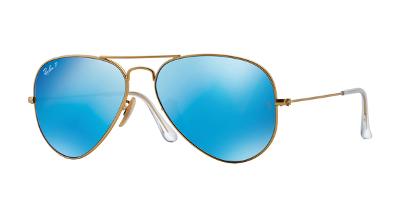 RAY-BAN RB3025 AVIATOR LARGE METAL » MATTE GOLD BLUE MIRROR POLAR