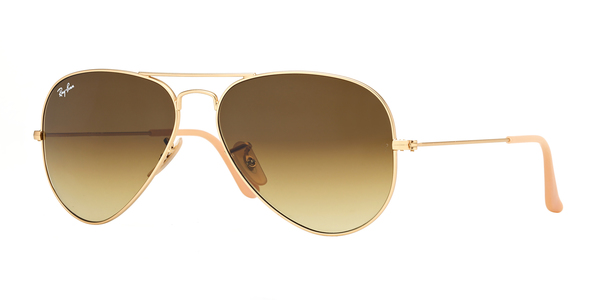 7a17daf54b88 RAY-BAN RB3025 AVIATOR LARGE METAL » MATTE GOLD BROWN GRADIENT ...