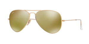Aviator Large Metal RB3025 112/93 GOLD BROWN MIRROR GOLD