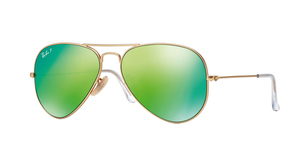 Aviator Large Metal RB3025-112/P9 MATTE GOLD GREEN MIRROR POLAR