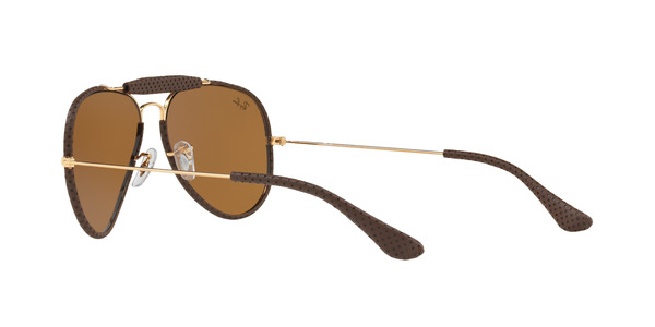 RAY-BAN RB3422Q AVIATOR CRAFT » LEATHER BROWN