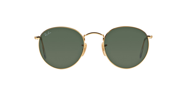 RAY-BAN RB3447 ROUND METAL » GOLD CRYSTAL GREEN