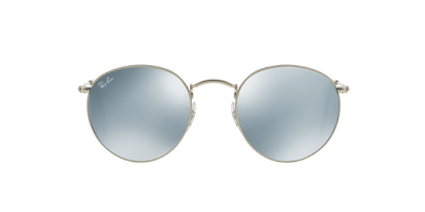 RAY-BAN RB3447 ROUND METAL » MATTE SILVER LIGHT GREEN MIRROR SILVER