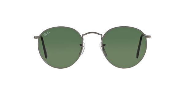 RAY-BAN RB3447 ROUND METAL » MATTE GUNMETAL CRYSTAL GREEN