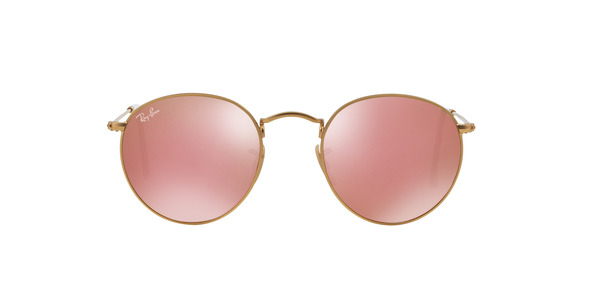 RAY-BAN RB3447 ROUND METAL » MATTE GOLD BROWN MIRROR PINK