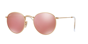 RAY-BAN Round Metal RB3447-112/Z2 MATTE GOLD BROWN MIRROR PINK