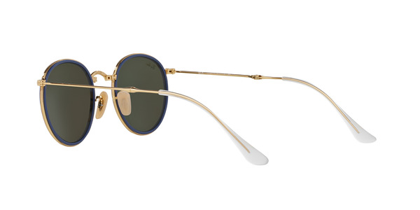RAY-BAN RB3517 FOLDING ROUND METAL » GOLD GREEN MIRROR SILVER
