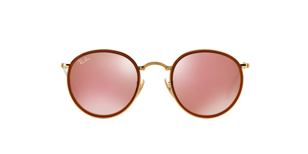 e0db8c5999 ... RAY-BAN RB3517 FOLDING ROUND METAL » GOLD BROWN MIRROR ...