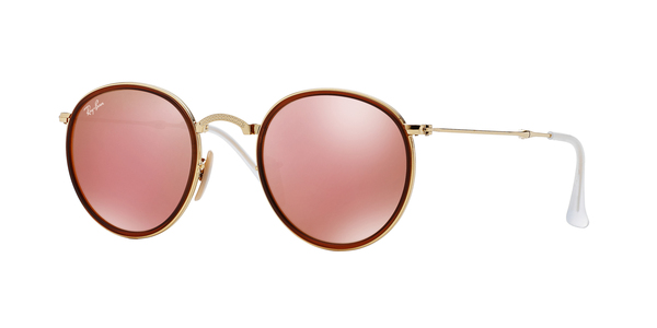 c06dec459e2a9 RAY-BAN Folding Round Metal RB3517 001 Z2 GOLD BROWN MIRROR PINK