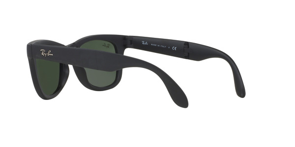 RAY-BAN RB4105 FOLDING WAYFARER » MATTE BLACK/CRYSTAL GREEN