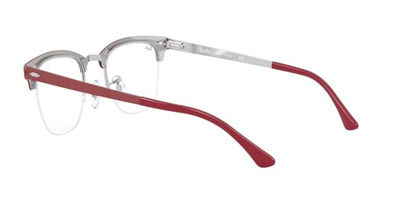 RAY-BAN CLUBMASTER METAL » SILVER ON TOP MATTE BORDEAUX
